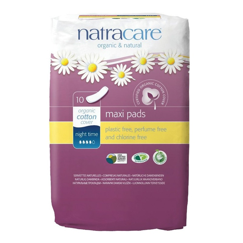 Натурални превръзки с био памук Maxi Pads Night Time Natracare 10 бр.
