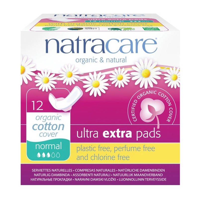 Натурални превръзки с био памук с крилца Ultra Extra Pads Normal Natracare 12 бр.